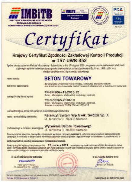 beton towarowy certyfikat